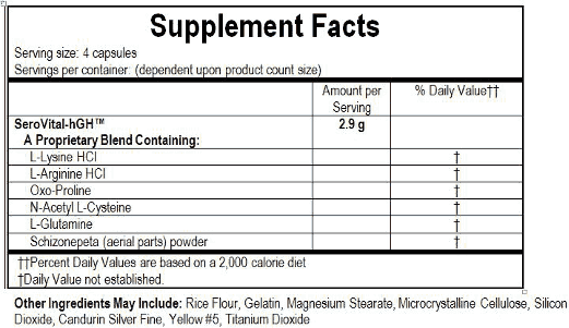 serovital hgh ingredients