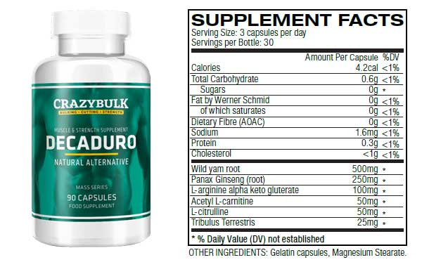 crazybulk decaduro bottle and ingredients list