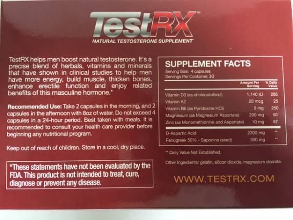testrx-natural testosterone booster ingredients