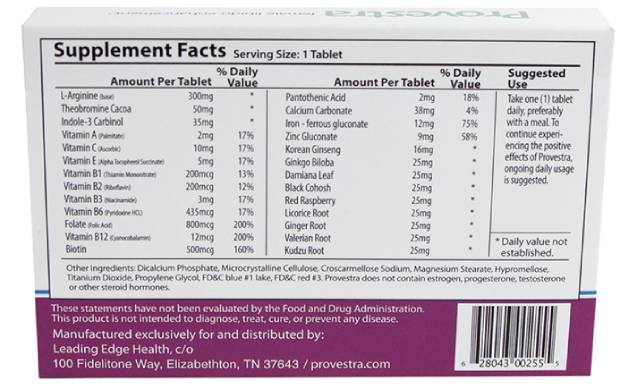 Supplement Facts of Provestra